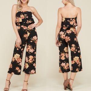 RYLEE Floral Print Jumpsuit - BLACK